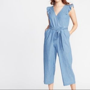Old Navy • Chambray ruffle sleeve cropped jumpsuit